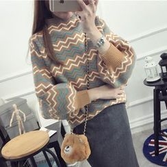 FR - Chevron Lantern Sleeve Mock Neck Sweater