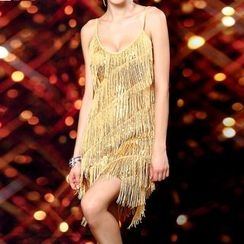 AIXI - Fringed Spaghetti Strap Dance Dress