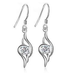 BELEC - White Gold Plated 925 Sterling Silver with White Cubic Zirconia Earrings