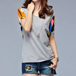 MyShow - Printed Panel Short-Sleeve Top