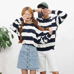 Seoul Homme - Couple Rugby-Stripe Sweatshirt