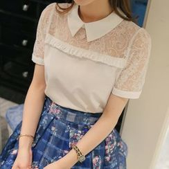 Q.C.T - Lace Panel Short-Sleeve Chiffon Blouse