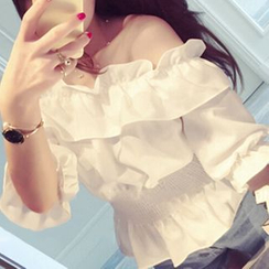 Jolly Club - Ruffled Off-Shoulder Top