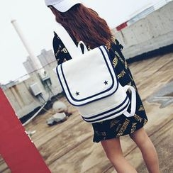 Seok - Contrast Trim Canvas Backpack