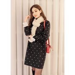 J-ANN - Wool Blend Polka-Dot Shift Dress