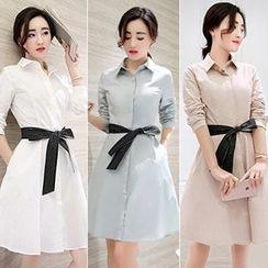 lilygirl - Plain A-Line Shirtdress