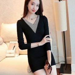 Romantica - Long-Sleeve Paneled Long Knit Top