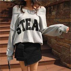 ERANZI - V-Neck Lettering Sweatshirt