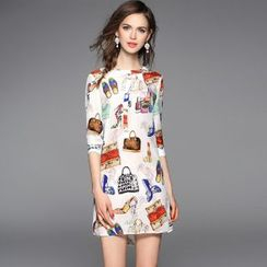 Y:Q - Printed Elbow Sleeve Pencil Dress