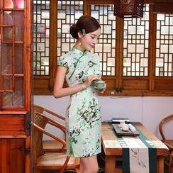 Janelle Qipao - Cap-Sleeved Silk Qipao