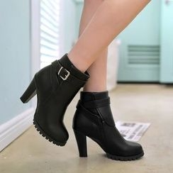 Pretty in Boots - Buckled Heeled Ankle Boots