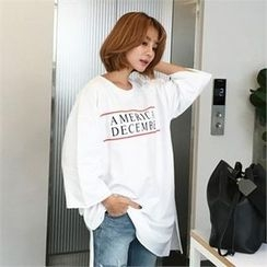 QNIGIRLS - 3/40Sleeve Lettering T-Shirt