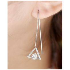 Miss21 Korea - Rhinestone-Triangle Threader Earrings