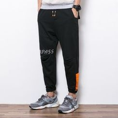 Dubel - Drawstring Letter-Embroidered Paneled Pants