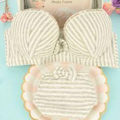 Heart2Heart - Set : Stripe Wireless Bra + Panties