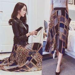 Tang House - Print Accordion Pleated Midi Chiffon Skirt
