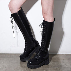 chuu - Lace-Up Platform Military Tall Boots