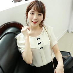 Dodostyle - Bow Accent Chiffon Blouse