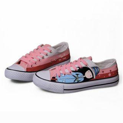 HVBAO - Lace-Up Printed Canvas Sneakers