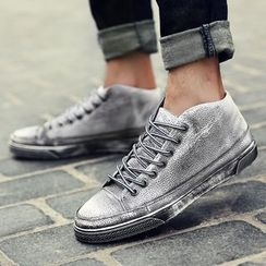 Shino - Genuine-Leather Lace-Up Sneakers