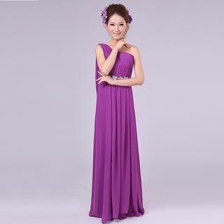 Annie Wedding - One-Shoulder Jeweled Empire Dress