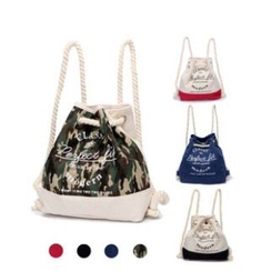 LISEN - Printed Canvas Drawstring Backpack