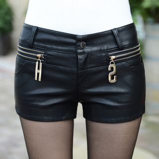 Sugar Hime - Faux Leather Shorts