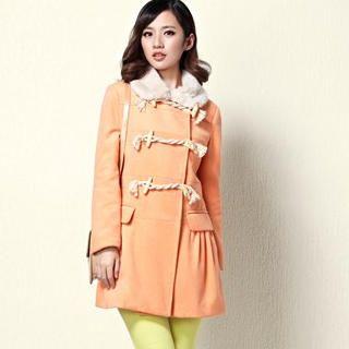 Moonbasa - Faux-Fur-Collar Toggle Peplum Coat
