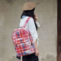 SUPER LOVER - Canvas Plaid Backpack