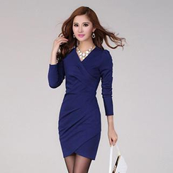 Call In - Long-Sleeve Wrap-Front Sheath Dress