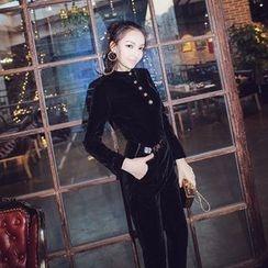 Ozawa - Set: Round-Neck Long-Sleeve Buttoned Velvet Top+High-Waist Harem Pants