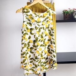 AIGIL - Set: Lemon Print Sleeveless Top + Cropped Pleated Pants