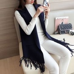 Bubbleknot - Fringe Long Knit Vest
