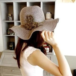 AnnSmile - Flower-Accent Straw Sun Hat