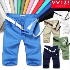 WIZIKOREA - Colored Cotton Shorts