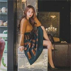 ERANZI - Patterned Long Flare Skirt