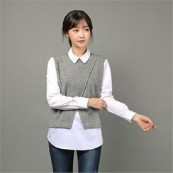 Styleberry - Inset Sleeveless Knit Top Long-Sleeve Shirt