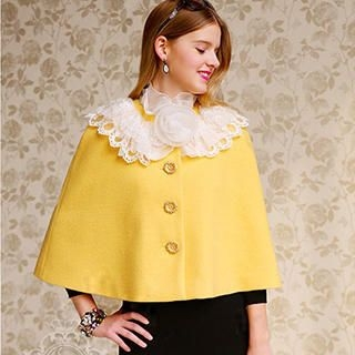 Dabuwawa - Corsage Accent Ruffled Cape Jacket