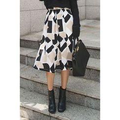 migunstyle - Pattern Midi Skirt