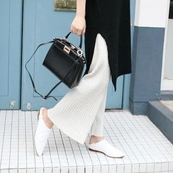 MARSHMALLOW - Banded-Waist Pleated Pants