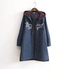 Ranche - Lettering Hooded Denim Coat