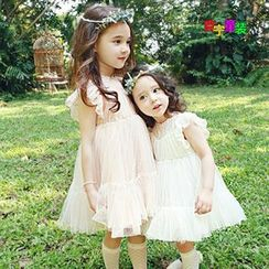 Cuckoo - Kids Cap Sleeve Tiered Lace Dress