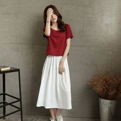 trendedge - Set: Linen-Blend Short-Sleeve Top + Skirt