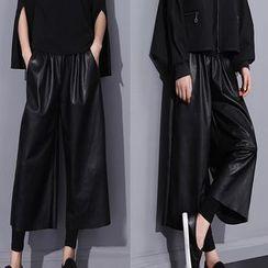 Ultra Modern - Faux Leather Drawstring Capri Pants
