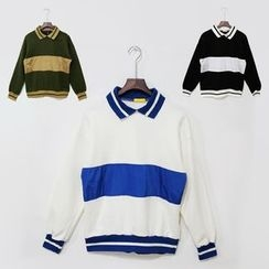 Mr. Cai - Long Sleeve Color Block Contrast Collar Sweatshirt