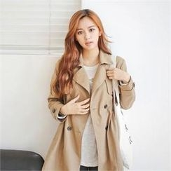Styleberry - Drawstring-Waist Double-Breasted Trench Coat