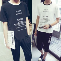 Danjieshi - Set: Lettering T-Shirt + Sweat Shorts
