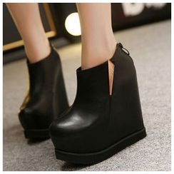 Anran - Platform Hidden Wedge Ankle Boots