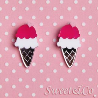 Sweet & Co. - I love ice-cream mirror stud earrings
