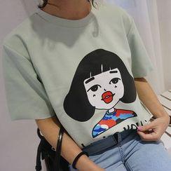 时尚麻豆家 - 印花T恤